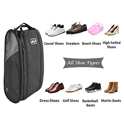 Golf Shoe Bag Travel Sport Gym Yoqa Sock Organizer Odor Resistant Large Zipper Space Shoe's Bag for Men and Women (Black) by skyvlv (Image #3)