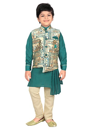 ahhaaaa Kids Indian Ethnic Collection Waistcoat Kurta and Pyjama Set for Boys_GRN420-2 Green ()