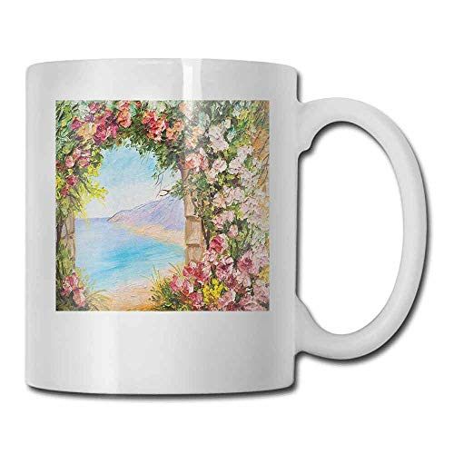 Art Coffee Mug Old Antique Arch Covered by Rose Petals Branches Romantic Italian Panorama Sea Print Latte Multicolor 11oz