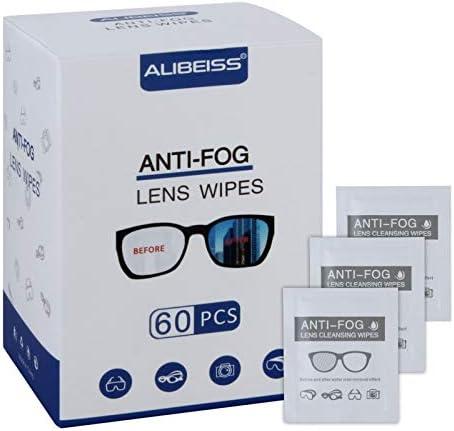 Alibeiss Anti-Fog Lens Wipes Pre-Moistened Anti-Fog Wipes,6″ X 5″,for Eye Glasses (60 Pack)