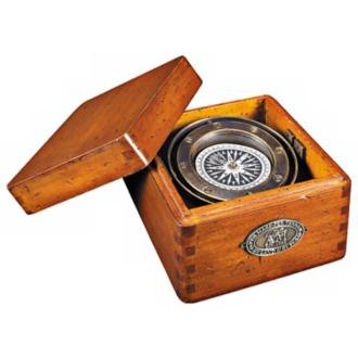 Wood and Solid Brass Boxed Lifeboat Compass