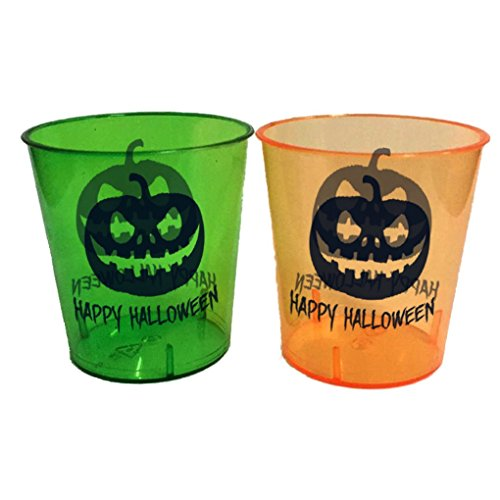 Halloween Shot Glasses - Durable Plastic - 1 Oz. - With Happy Halloween Design - 24 Pack - 12 Pieces Green, 12 Pieces Orange - Perfect For Parties - Get Dressed Up & Drunk (Halloween Plastic Shot Glasses)