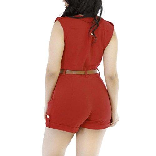 GONKOMA Women's Elegant solid color V-neck Rompers jumpsuit with belt (M, Red)