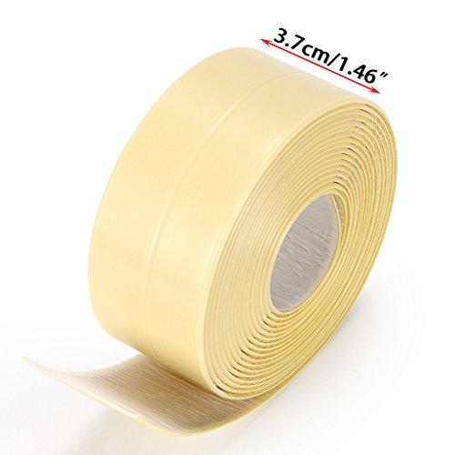 Sumnacon Bathtub PE Caulk Strip, Self Adhesive Waterproof Flexible Sealing Tape for Bathtub,Sink,Wall, Anti-Mildew Tub Sealer Decorative Trim 1-1/2