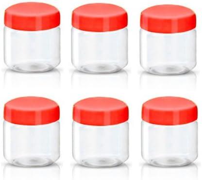 Sunpet plástico alimentos recipiente de almacenamiento, plástico, Rojo, 100 ml, paquete de 6