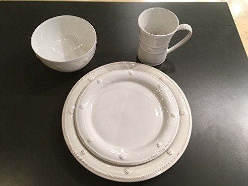 Juliska Berry & Thread Whitewash 4 Piece place setting (Dinner, Round Salad, Cereal, & (Berry 4 Piece Place Setting)