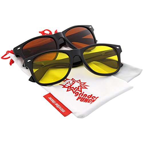 grinderPUNCH Blue Blocking Driving Sunglasses Black and Yellow Lens 2 - Night Time Sunglasses