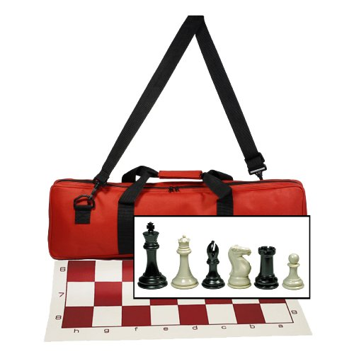 (WE Games Premium Tournament Chess Set with Deluxe Red Canvas Bag, Super Weighted Staunton Chess Pieces - 4 Inch King)