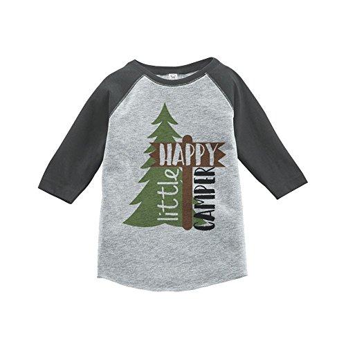 Custom Party Shop Unisex Happy Camper Outdoors Raglan Tee 2T Grey
