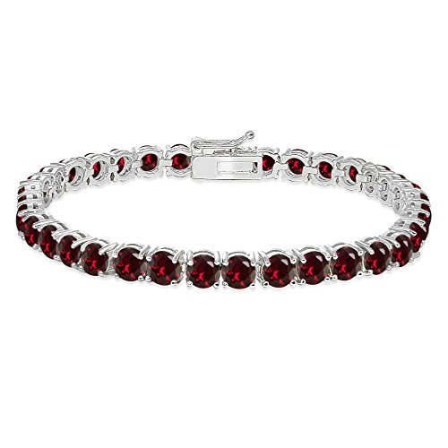 (Sterling Silver 5mm Created Ruby Round-cut Tennis)