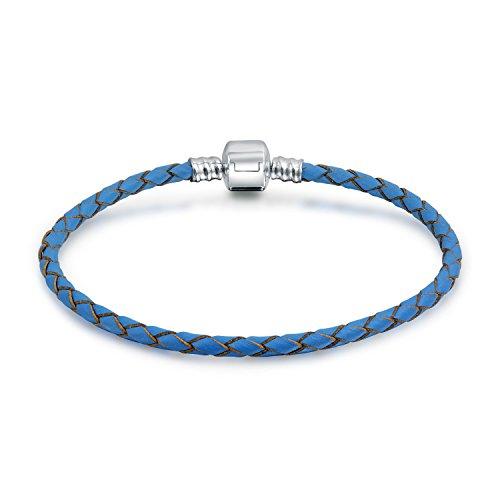 Blue Braided Weave Genuine Leather Starter Charm Fits European Beads Bracelet For Women 925 Sterling Silver Barrel ()