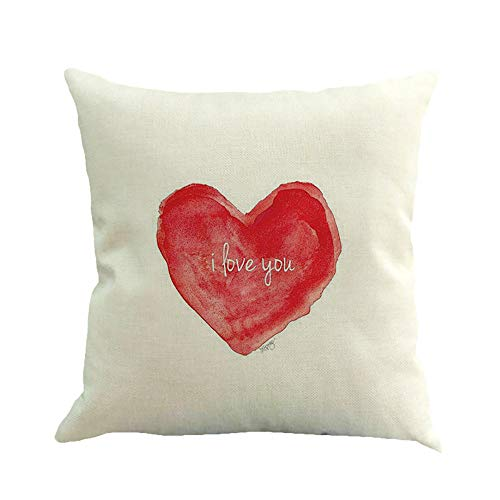 Aoesila Pillow for Lover Happy Valentine's Day Throw Pillow Case Sweet Love Square Cushion Cover Cotton Linen 18 x 18 Inch,43cm44cm ()