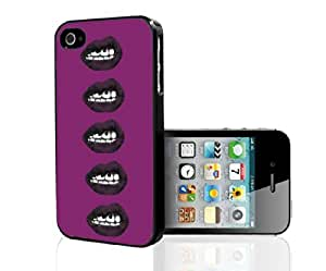 Lip Ring and Grunge Lip Expressions Burgundy and Black Hard Snap on Phone Case (iPhone 4/4s)