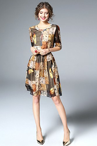 Dresses Printed Half Silk cotyledon Line Dress Women`s Sleeve A fBEqxnHwR