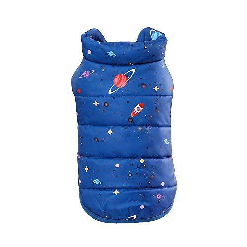 Cotton Armoire (Pet Warm Vest Puppy Winter Planet Printed Button Apparel Dog Costume Cat Clothes Jackets (L, Blue))