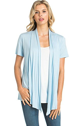 12 Ami Basic Solid Short Sleeve Open Front Cardigan Light Blue Extra Large ()