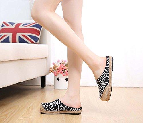 on Soojun Womens Printed Black Aztec Slip Sandal Espadrille Slippers Jute cP1w4qWR1