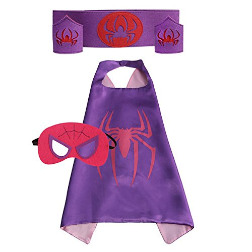 Super Hero Cape Bundle - 4 Items - 1 Cape - 1 Mask - 1 Waistband - 2 Wristbands – Great for Kids Birthday Party , Halloween , pretend play parties , Christmas (Spider Girl)