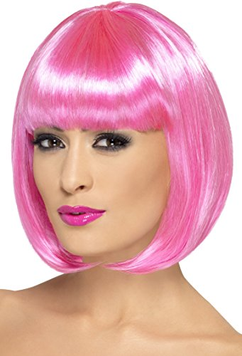 Smiffy's Women's 12inch Short Pink Bob with Bangs, One size, Partyrama Wig, 5020570423929 (Adult Short Pink Wig)