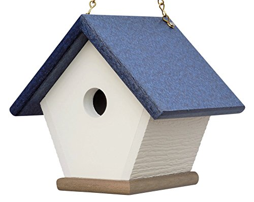 n House: Hanging Bird House Handmade from Eco Friendly Materials (Navy/Wood) (Recycled Wren House)