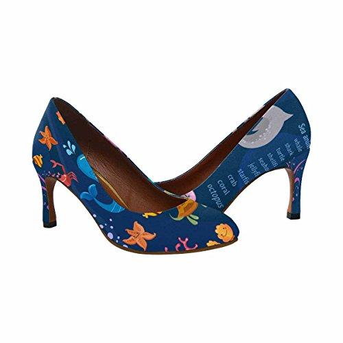 Interestprint Womens Classic Fashion Abito Tacco Alto Pompa Animali Marini Collezione Simpatica Polpo, Pesce, Balena