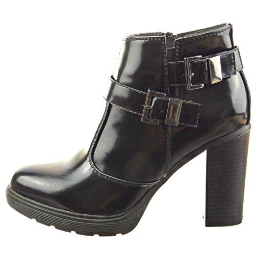 Sopily - Zapatillas de Moda Botines Tobillo mujer brillantes multi-correa Talón Tacón ancho alto 9 CM - Negro