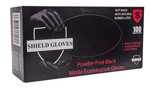 100 Pack Black Barrier Nitrile Examination Gloves 4 Mil. Small Sized Chemical Resistant Powder Free Gloves. Disposable Finger Textured Latex Free Gloves for Medical use, Cleaning. Wholesale price.