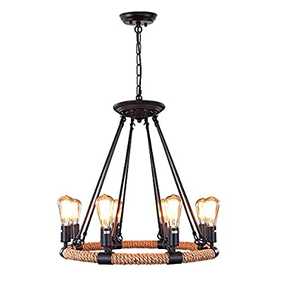 LNC Farmhouse Chandelier for Dining Rooms Ceiling Light Fixture, A0253203, Brown - Inspired by natural element, we add jute rope into this rustic chandelier. The natural jute rope allows you to escape from the bustling city and brings you back to the nature. This black chandelier gives a sense of nature and freedom in look and fits well within spacious space such as living room, dining room, bedroom, farm house, bar, etc. This wagon wheel chandelier was upgraded based on thousands of our customers' requests. Adjusting the desired chain height and wiring, then screwing in bulbs! Yes, it's that simple. - kitchen-dining-room-decor, kitchen-dining-room, chandeliers-lighting - 41Kc5q7XiFL. SS400  -