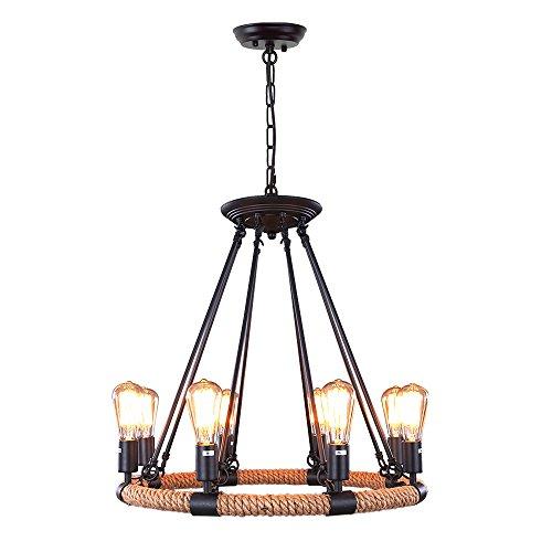 LNC Rustic Rope Chandeliers, 8-light Pendant Lighting for Kitchen, Dining Room, Living Room, Restaurant