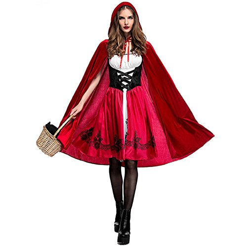 Little Red Riding Hood Halloween Costume Makeup (Red Riding Hood Costumes Women's Halloween Christmas Cosplay Masquerade Costume (L))