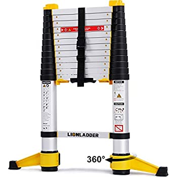 Lionladder 12.5FT EN131-6 Telescoping Ladder, One-Button Retraction, Pro Aluminum Ladder, 330 Lbs Capacity