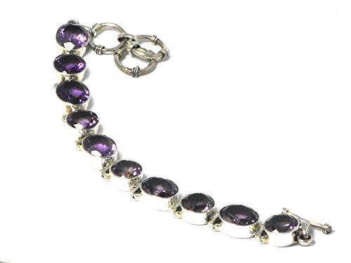 Bracelet avec améthyste en argent sterling-Poinçonné-(ambl1608161)