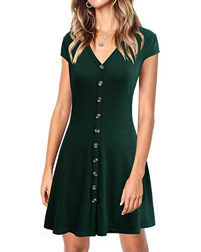 - Lyrur Women's Simple Summer Cap Sleeves Shirt Dress Front Buttons Dark Green Flared Short Cocktail Dresses(M, 9086-Dark Green)