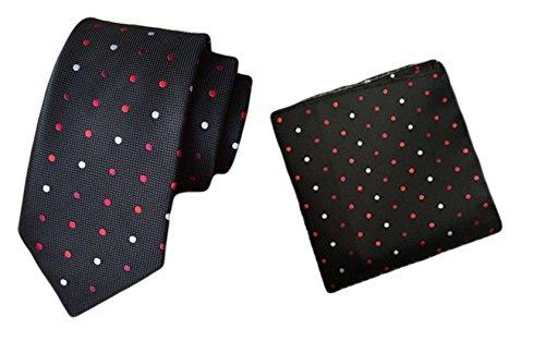 2 Piece Polka Dots Tie (MENDENG Men's Black Polka Dots Necktie Party Suit Tie Handkerchief 2 Pieces Sets)