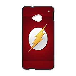 Classical superhero Flash logo Custom Case Cover Cover for HTC One M7(Laser Technology)