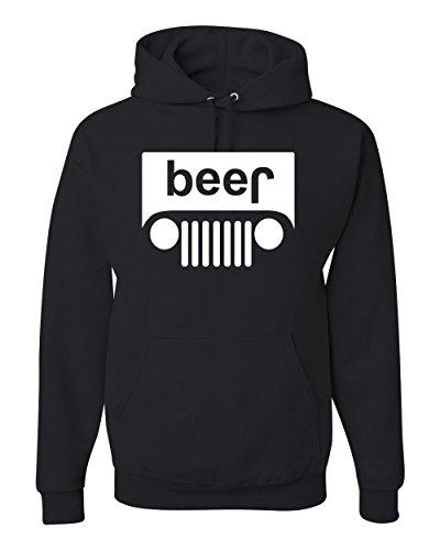 Hoodie Sweatshirt Mens Beer (Beer Jeep Logo Funny Parody Drinking Unisex Hooded Sweatshirt Fashion Hoodie ( Black , XL ))