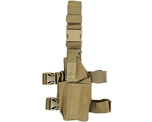 Left Handed Gun Holsters (Tactical Drop Leg Holster, Adjustable Gun Holster Thigh Pistol Holster with Magazine Pouches for Left/Right Handed (Black, Tan))
