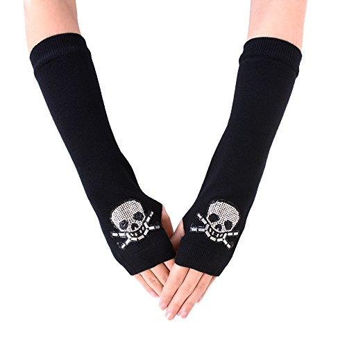 JISEN Lady Black Rhinestone Pattern Knitted Stretchy Soft Arm Fingerless Warm Long Gloves Skull