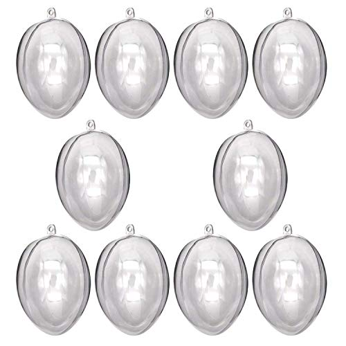 YUYIKES Clear Plastic Fillable Christmas DIY Craft Ball Ornaments 10 pcs 3.94 inch (Egg) ()