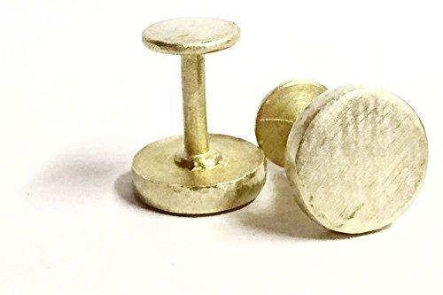 Simple Round Solid Brass Unisex Cufflinks with Hammered Edge Detail - Edge Round Cufflinks