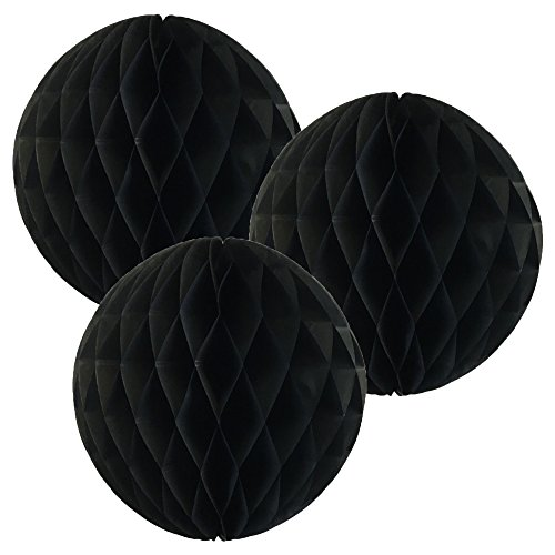 Just Artifacts Tissue Paper Honeycomb Ball (Set of 3, 12inch, Black) - Click for More Colors & Sizes!