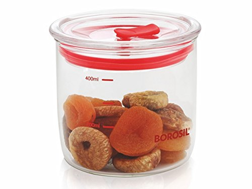 Borosil Classic Trend Glass Jar with Lid, 400ml, Transparent