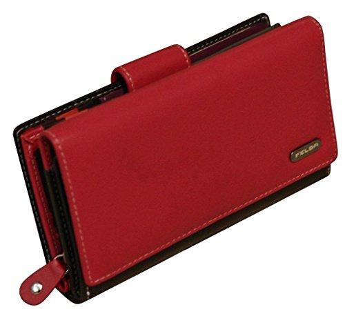 Felda Womens Genuine Soft Leather Clutch Wallet - RFID Protection - Red &...