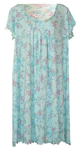 Miss Elaine Softknit Lettuce Ruffled Edge Plus Size Nightgown (Soft Seafoam Pastel Floral, ()