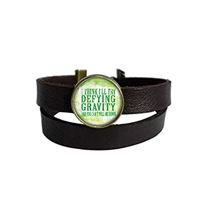 LooPoP Vintage Punk Dark Brown Leather Bracelet Wicked The Musical Defying Gravity Belt Wrap Cuff Bangle Adjustable