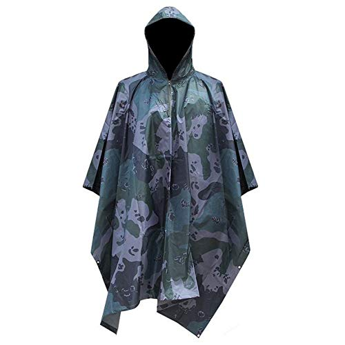WarmHeaven Thick Military Rain Poncho with Hood Waterproof Raincoat Durable Nylon Teen Youth Women Men Hunting Hiking Travel Survival Plus Size Navy ()