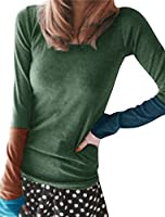 Allegra K Woman Color Block Sleeves T-Shirt w Thumb Hole