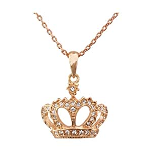 FM42 Royal Style Pave Clear Crystal Crown Pendant Necklace N16