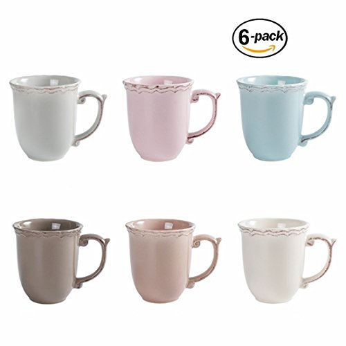 Porcelain Fluted Mugs - 13 Ounce for Coffee, Tea, Cocoa, Cold Assorted Colors Dishwasher And Microwave Safe Mugs Set of 6 (Set of 6) (Porcelain Mugs set of 6)