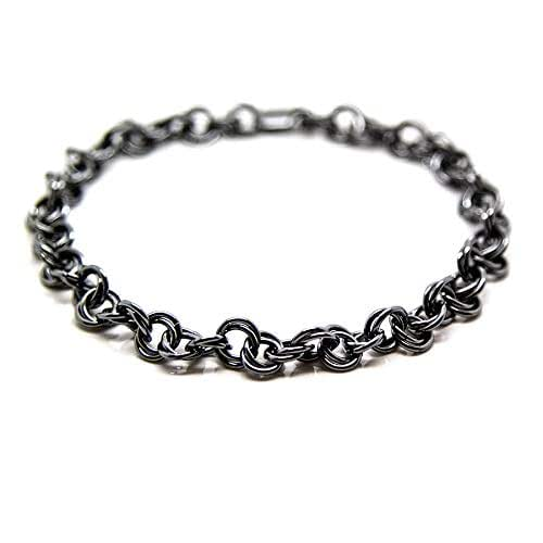 Amazon Com Men Sterling Silver Bracelet For Men Black Rope Chain Man Bracelet Homme Double Spiral Chainmaille Man Jewelry Gift For Him Viking Bracelet Adonis Handmade
